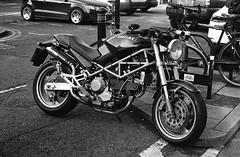 Ducati M900 Monster (Man with Red Eyes) Tags: motorbike ducati m900 monster ducatim900monster street leicam2 berggerpancro400 pyrocathd 11100 16mins 70f analog analogue blackwhite monochrome silverhalide sunnysixteen filmtest homedeveloped v850 lancaster lancashire northwest