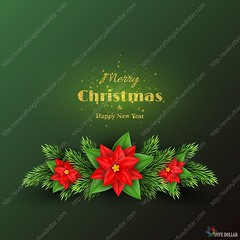 Christmas holiday background. (everythingisfivedollar) Tags: merry christmas holiday tree fir glitter branch gold golden poinsettia light glow glowing pine decoration new year happy vector background design illustration celebration greeting season xmas art concept element bright luxury shiny magic decorative realistic congratulation seasonal party winter leaf red tradition blooming wreath 3d day style celebrate flower green