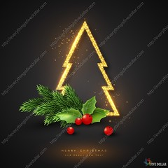 Christmas holiday background. (everythingisfivedollar) Tags: christmas tree fir branch gold golden light glow glowing pine decoration new year happy vector background design illustration card holiday celebration greeting creative symbol season xmas abstract art website template concept element figure frame black glitter bright luxury shiny exclusive shine magic premium holly berry decorative merry realistic congratulation seasonal