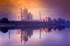 The Magnificent Taj Mahal (apoorvg1) Tags: tajmahal sunset reflection river travel clouds beautiful love history photo india photography dome mosque symmetry marble white agra monument huge heritage yamuna blogger mughal wonders taj travelforks apoorvgupta colour