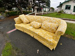 Soap Operas and Game Shows by RZ68 - This stylish, vintage sofa graced the roadside for a few days after being abandoned. The seat cushions go first, as you can see. Ones like this always take me back to the elderly babysitters that we went to in the 70's. Ah, the hours of watching soap operas and game shows. Thanks for having a look!