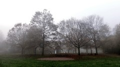 Playground (farmspeedracer) Tags: morning park nature scare scary dark cold fog mist grey sky isolation november herbst autumn fall playground silent hill