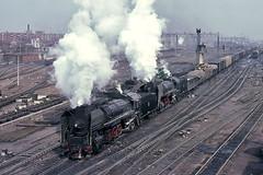 Double delight (Bingley Hall) Tags: transport train transportation trainspotting rail railway railroad locomotive engine steam china harbin freight 2102 qj