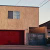 Golden hour at stucco garage (ADMurr) Tags: la east hollywood square rectangle door house garage evening light leica m6 crop 50mm summicron cbb396 window stucco triangles lines 2016