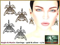 Bliensen - Hugin & Munin - Earrings (Plurabelle Laszlo of Bliensen + MaiTai) Tags: roleplay viking odin raven bird jewelry fantasyjewelry fantasy vikings norse mythology bliensen secondlife sl