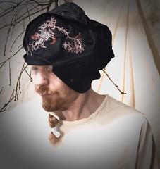 freeform hat (Danny W. Mansmith) Tags: handmadehat layers drawingwiththesewingmachine nature organicshape cotton oneofakind dannymansmith wearableart fiberart sewing secondsaturdaysmtbakerartlofts