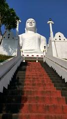 Buddha (lesleydugmore) Tags: buddha kandy srilanka ceylon stairs red sky blue tree white temple 9