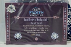 2017 Elsa Limited Edition 17 Inch Doll - Olaf's Frozen Adventure - Disney Store Purchase - Covers Off - Closeup of Certificate of Authenticity (drj1828) Tags: disneystore limitededition doll 17inch frozen olafsfrozenadventure collectible 2017 elsa boxed purchase certificateofauthenticity