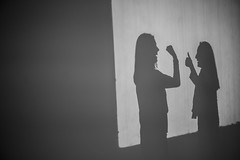 Silhouettes (theodirector) Tags: moma paris parislife parisianlife visitors exhibition exposition museum visit visits museumvisit museumvisitors modernart art weekend people dailylife artist gallery gallerie shadow shadows backlight silhouette silhouettes friends friendship girls women funny minimalist projector projection light inthelight conversation discussion screen screenlight wallscreen wall blackandwhite noiretblanc monochrome facetoface dual chineseshadow shadowplay shadowplayers shadowplaying