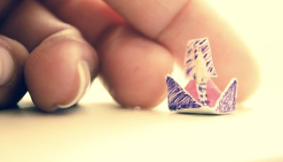Pushing a origami boat (#MM Fingertips)