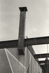 Perspective from below (Nikon F2, Kodak Tri-X 400, Tetenal) (alejandro lifschitz) Tags: lifschitz black white blanco negro outdoor kodak trix 400 lightroom photoshop silver efex pro epson 850 monochrome border shadows sombras uruguay colonia winter invierno solitude nikon f4s door puerta track via abstract abstracto steel train