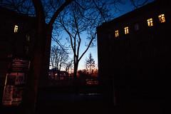 Fade out (ewitsoe) Tags: auutmn sunset jzyce poznan poland street sun winter autumn polska aprtments buildings trees silhouette cityscape urban city central dusk sky