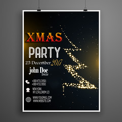 creative christmas party poster design in black color (safshee) Tags: christmas abstract background greeting merry happy xmas holiday season design vector card seasonal new year december celebration creative winter wallpaper festival postcard poster graphic illustration event flyer invitation party recreation brochure club tree template