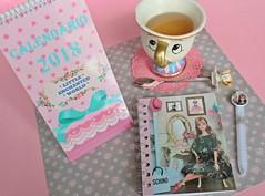 (♥ Little Enchanted World ♥) Tags: desk cute lovely calendar notebook ballpen handmade byme dolls photos barbie midge little enchanted world stationery disney chip cup tea teacup beauty beast primark chipgate newyear tictail store shop