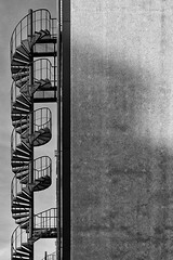 Fire Escape (laga2001) Tags: ladder escape fire emergency exit stair staircase round black white bnw monochrome architecture minimalism graphic urban building unusual helix vertical lines canon