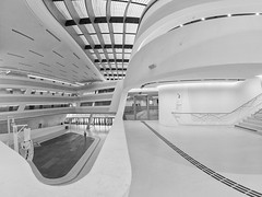 Geometry in White (laga2001) Tags: vienna uni university white black bw modern monochrome architecture geometry lines curves city urban building house library austria learning wu zaha hadid highkey