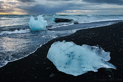 Diamond Beach in Iceland (Doru Oprisan) Tags: ifttt 500px landscape cold nature beach travel north cloudy ocean sony ice storm waterscape iceberg iceland black sand doru oprisan rx100m3 land fire landscapes