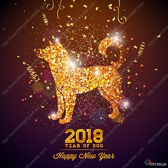 2018 Chinese New Year Illustration with Bright Symbol on Shiny Celebration Background. Year of Dog Vector Design. (everythingisfivedollar) Tags: flower background vector design 2018 new year abstract frame dog silhouette pattern ornament nature banner leaf art paper holiday spring animal chinese zodiac sign symbol happy asian celebration china decoration graphic red illustration oriental traditional card asia culture cut element greeting puppy festival good luck template confetti serpentine glitter shiny