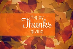 Composite image of thanksgiving greeting text (wsmith8410) Tags: thanksgiving greeting digitally computer studio small happy leaf traditional composite generated message western plain white text autumnal pattern against tones warm image illustration celebration environment background happiness festival letters digital graphic season leaves design nature orange script autumn green brown fall shot day red ireland