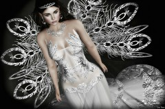 """""""some winters will never melt  some summers will never freeze  and some things will only ... live in poems."""" (Lori Novo) Tags: lorinovo secondlife avatar virtual blogger tiffanydesigns gown silver white angel wings"""