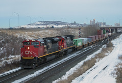 NOT the Catch of the Day (Trevor Sokolan) Tags: canadian canada cn cnr canadiannational sd70ace emd generalmotors gmd diesel locomotive city yard signals signal freight intermodal q105 alberta ab edmonton edsonsub snow winter bluehour c408 ge railway railroad railfan rail railfanning trains train trainspotting tracks road