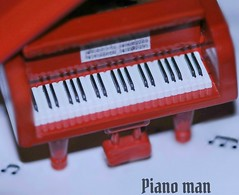 Macro Mondays: Member's Choice-Musical Instruments... (nushuz) Tags: brightred tinychristmastreeornament snippetofsheetmusic babygrandpiano billyjoel macromondays memberschoicemusicalinstruments pianoman musicnotes iplaypiano