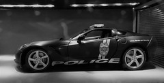 Police Corvette Stingray. (ManOfYorkshire) Tags: safety service security honor duty police car auto automobile patrol sports maisto diecast scale model 118 2014 corvette stingray 911 bluelight