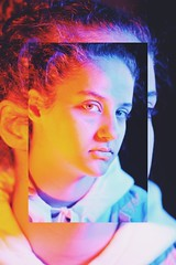 Gel Lights (yoosma1) Tags: gel lights portrait aesthetic old grain colours light green blue red pretty smile serious collage brown grey art creativity creative girl nikon d7100 d3100 city photography photo