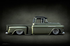 Mean Green II (DL_) Tags: vintage classic green slammed chevrolet pickup truck olympusomdem5mkii