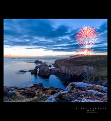 Sunset and Fireworks at Enys Dodnan and the Armed Knight (Steve Garbutt) Tags: 2015 armedknight bluehour cliffs display england enysdodnan fireworks rocks sea summer sunset tourism unitedkingdom water cornwall tav2016