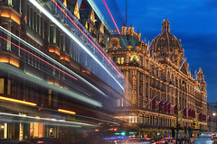Harrods Trails (JH Images.co.uk) Tags: london harrods lighttrails shopping illuminated illumination hdr dri night street