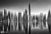 Abu Dhabi Skyline - UAE (D. Pacheu) Tags: water skyline black white pacheu buildings reflection abu dhabi on1 noiretblanc