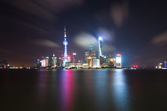 Pudong skyline by night, seen from the Bund 上海 (leonardrodriguez) Tags: night reflection tower cityscape skyline long exposure china shanghai cbd bund chine cina 中国 上海 pudong