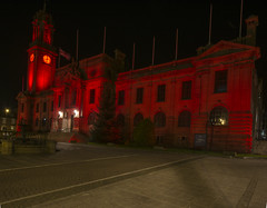 Town hall lit Red for worldwide pressure injury prevention day. (Mark240590) Tags: