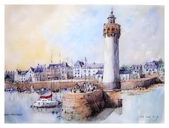 Saint-Philibert - Bretagne - France (guymoll) Tags: saintphilibert bretagne france croquis sketch aquarelle watercolour watercolor bateaux port harbour phare farol