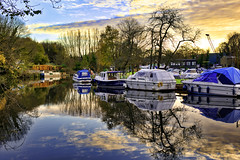 The river ...and sunset (Julie Greg) Tags: boat nature river sky water tree landscape grass sunaset canon