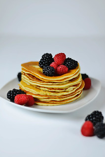 Pancakes with fresh wild Blackberries and Raspberries