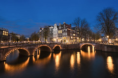 Arches Of Amsterdam (JH Images.co.uk) Tags: amsterdam holland bridge canal hdr dri night reflection water sky houses trees bluehour twilight architecture lights