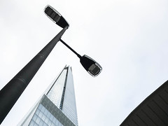 Taller and tallest (marktmcn) Tags: lampost lamp post streetlamp street shard tower buidling syscraper glass pyramid architect renzo piano looking up upwards skywards sky london bridge under tall tallest