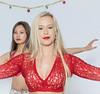Beautiful Blonde Dancer (tibchris) Tags: arieldanceproductions danceclasses blonde dancer bellydance portrait girl woman red onwhite
