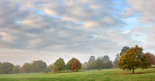 Tight panorama (2 shots to get width) Misty autumn morning at University of Kent