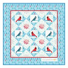 "Little Winter Wonders ~ 40"" x 40"" Wall Hanging (easypatchwork) Tags: little winter wonders easypatchwork pattern foundation piecing paper nähen auf papier vorlagen cardinal blue jay bluejay blauhäher"