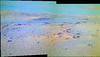 Green and Blue and Orange near Endeavour Crater, variant (sjrankin) Tags: 6december2017 edited nasa mars colorized bands257 panorama endeavourcrater opportunity rocks sand