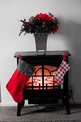 Hung With Care (Jules (Instagram = @photo_vamp)) Tags: stockings selectivecolour electricfireplace flowers photochallenge