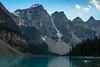 Moraine Lake tranquility; Banff National Park, AB (Image 3) (Martin Thielmann) Tags: ab banffnationalpark morainelake mtallen mtbowlen mtlittle mtperren mttonsa dinghy glacialledge redcanoe toweringmountains waningraysofeveningsunlight