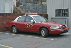 Berkeley Springs Fire Department (Emergency_Spotter) Tags: fire vic ford fleet chrome grille white top oldie but goodie classic hubs hubcaps volunteer strobe lightbar wheel turn crown victoria reds whites rwd silver ball joints west virginia fd bsfd vintage