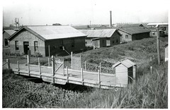 Black and White Photograph of Historic Buildings at Fort Lytton, Brisbane (Queensland State Archives) Tags: brisbane fortlytton military encampment queensland historicbuildings lytton bridge