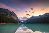 Sunset at Lake Louise, Banff, Alberta 1 (AmbientLens) Tags: clouds cloudscape lake lakelouise nature outdoors reflection trees water adventure alberta banff canada canadianrockies cloudy coast glaciallake glacier jasper mountain natural rocks rockymountains snow snowcappedmountains sunset torquoise