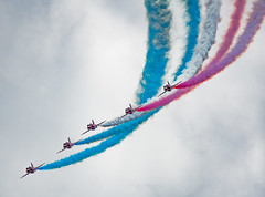 Red, White and Blue - RAF Red Arrows (Aleem Yousaf) Tags: eastbourne plane spotting airshow military aviation photography nikon d800 300mm prime fighter jet airplane aircraft beach airbourne red white blue raf arrows royalairforce redarrows aerobaticteam baesystems hawkt1