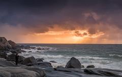 Before the storm- (Reidar Trekkvold) Tags: atlantic bølger fujifilm landscape lofoten natur nature nordnorge norge norway shoreline sjø storm sun sunset utakleiv waves